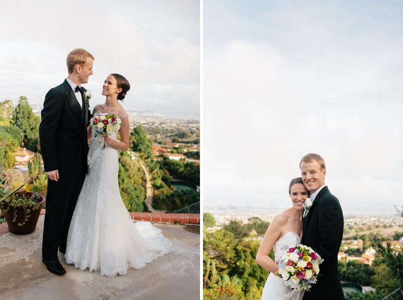 Los Angeles bride and groom portraits Rancho Palos Verdes overlooking Port of Long Beach