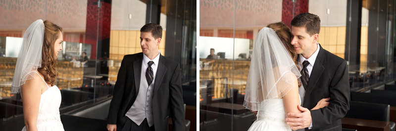 Los Vegas wedding photographer. Intimate first look moment with bride and groom alone.