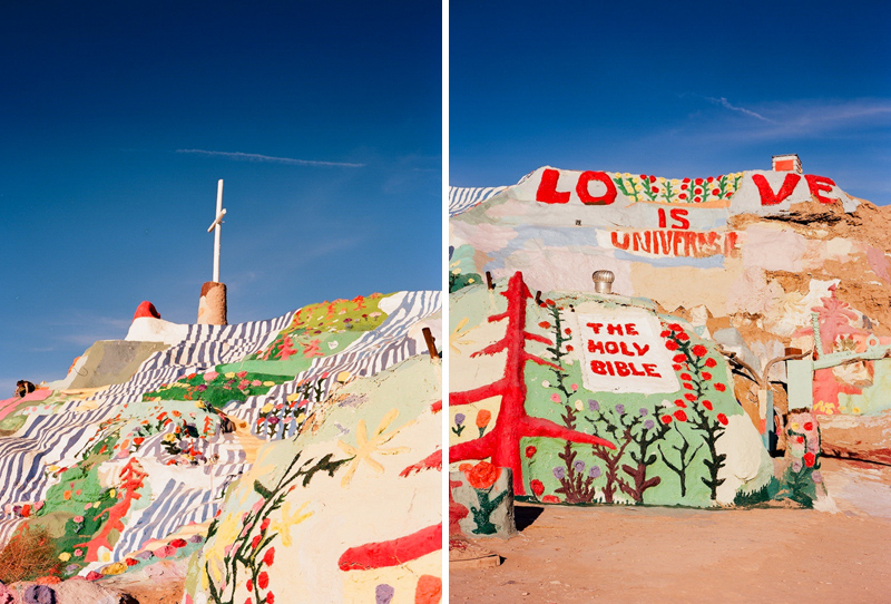 Bold colorful artistic Salvation Mountain by Los Angeles film photographer Jessica Schilling