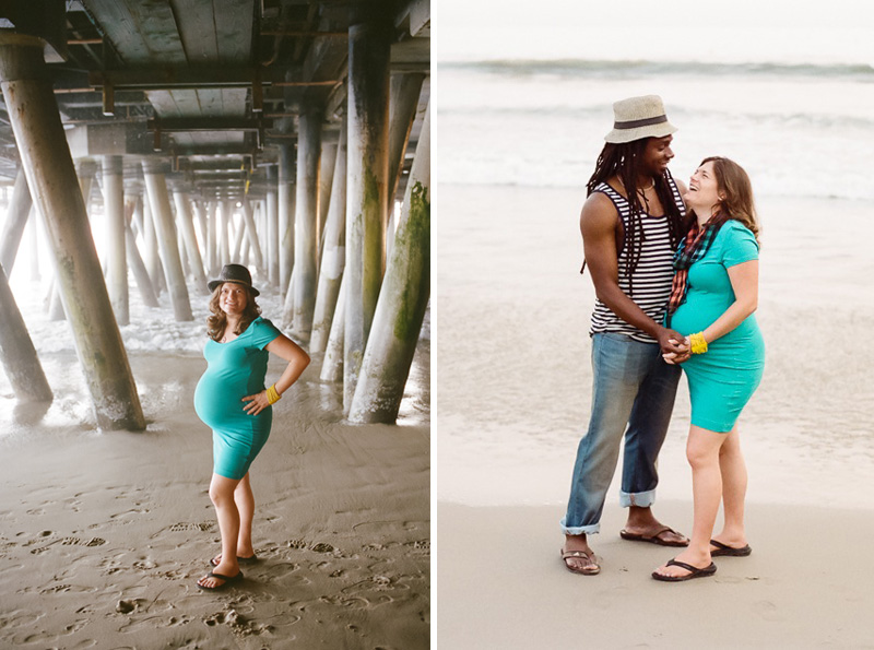 Santa Monica pier and beach film photography for maternity, family, couples portraits