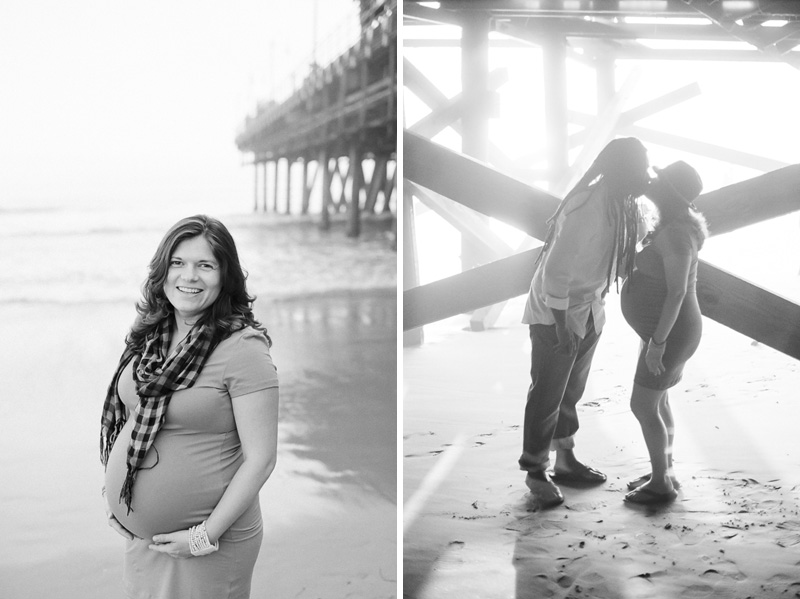 Black and white 35mm film photographer for unique maternity photos at Santa Monica Pier