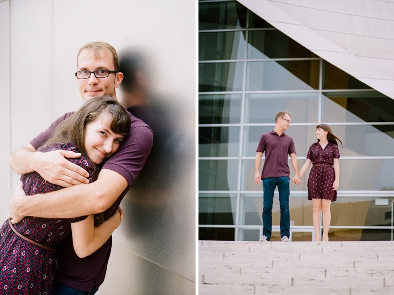 Los Angeles modern candid natural engagement photography at Disney Concert Hall