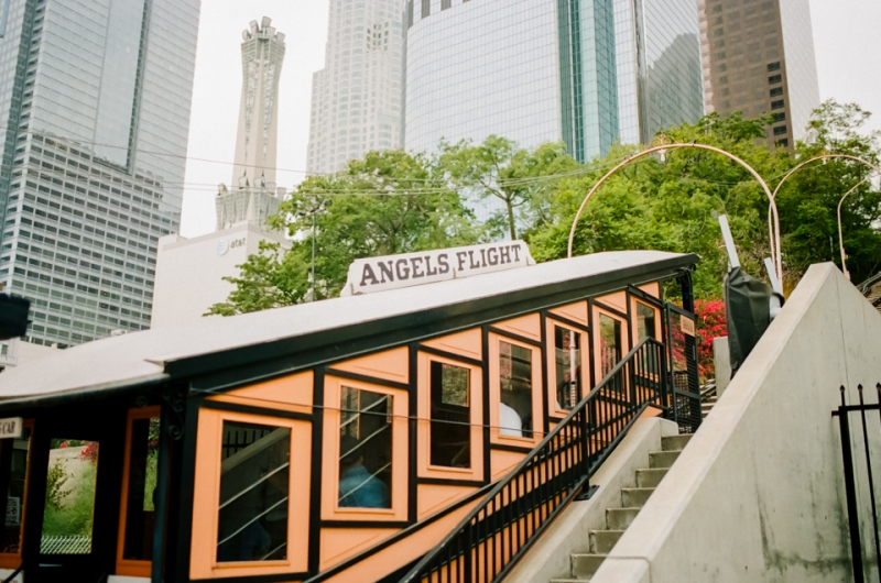 Downtown LA engagement photos at Angels Flight Railway