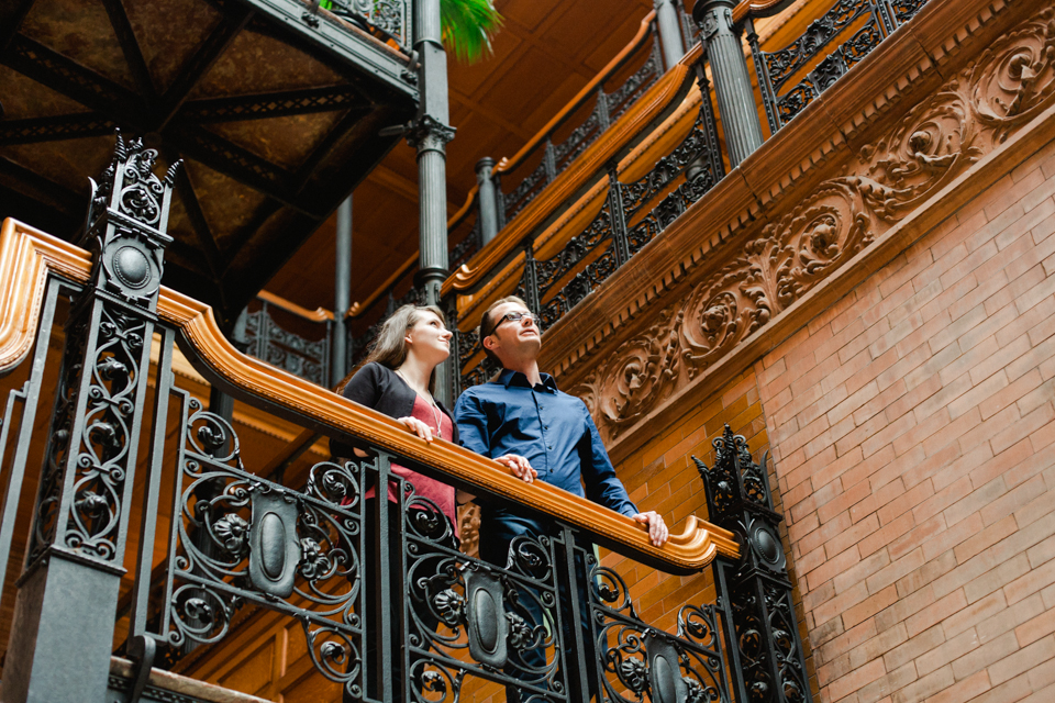 Los Angeles downtown Bradbury Building unique indie engagement photographer