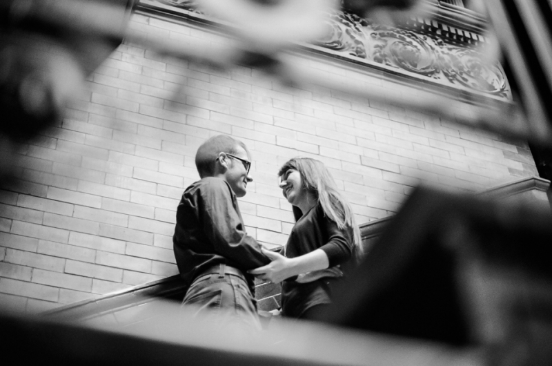 Los Angeles Bradbury Building downtown LA engagement photos on 35mm film