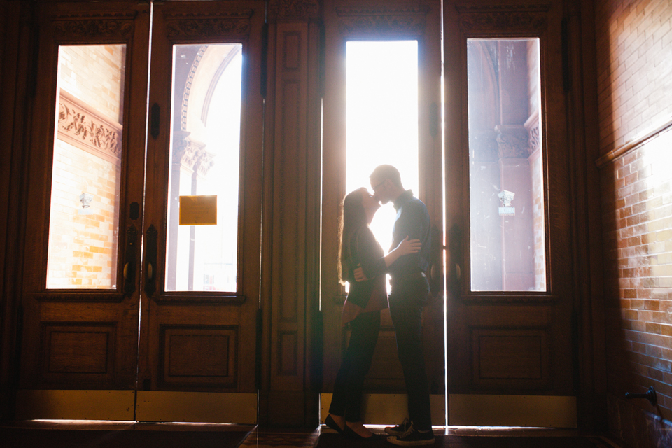 Bradbury building downtown LA silhouette engagement photography kiss