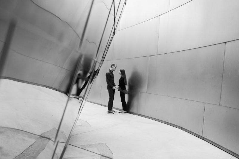 LA modern artistic cool 35mm engagement photography at Disney Concert Hall
