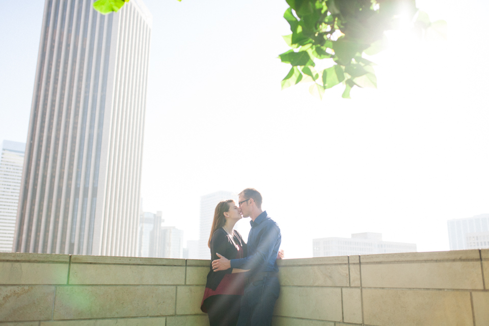 Downtown Los Angeles city skyline modern romantic engagement photography