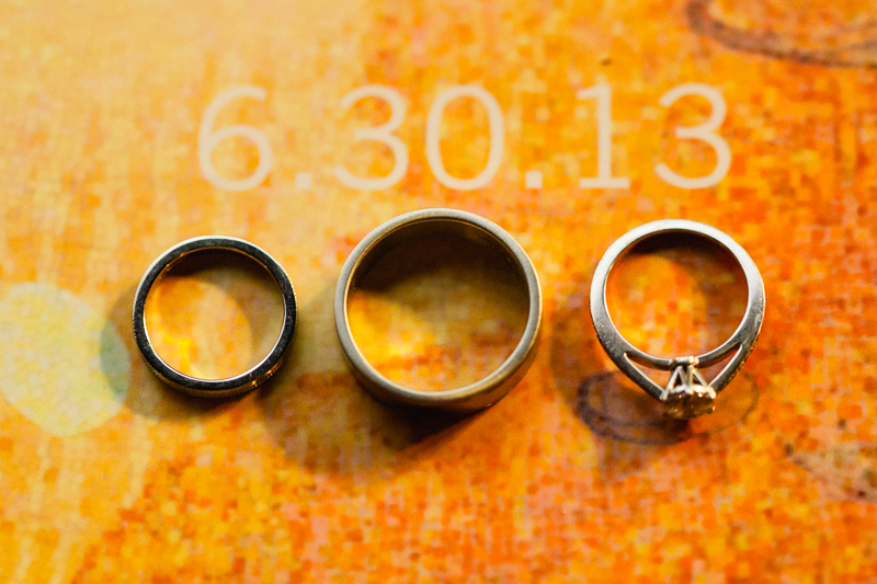 Los Angeles wedding photographer - indie wedding rings on guestbook with date