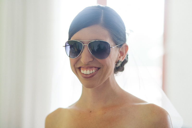Los Angeles Claremont wedding photography. Bride in aviator sunglasses.