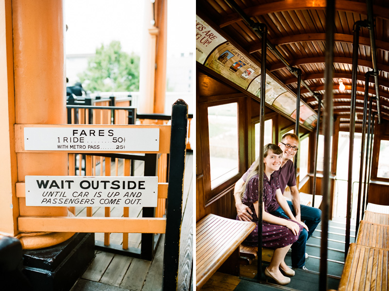 Los Angeles film photographer Jessica Schilling. Engagement photos at Angels Flight.