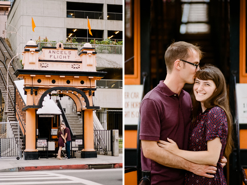 Modern sweet natural film photography. Angels Flight engagement photos.