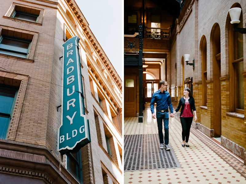 Los Angeles indie wedding and engagement film photographer at Bradbury Building downtown