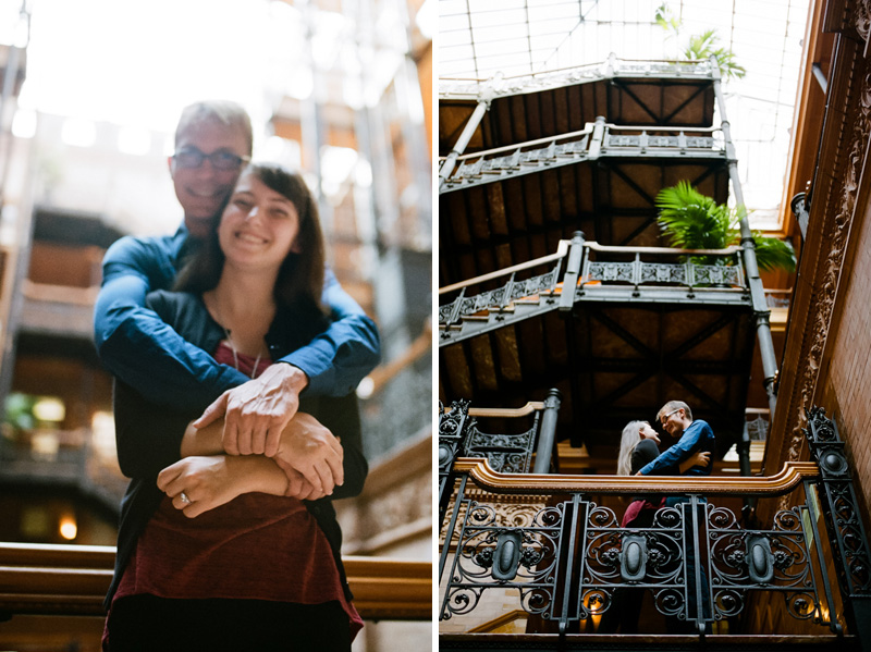 Beautiful historic Bradbury Building downtown LA engagement photography
