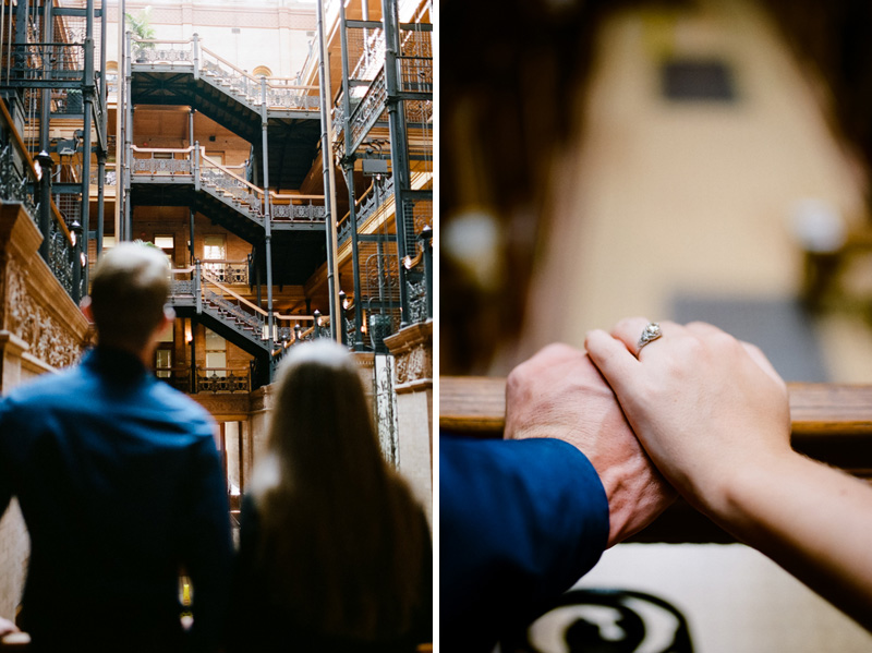 Los Angeles film engagement photographer. Bradbury Building downtown session.