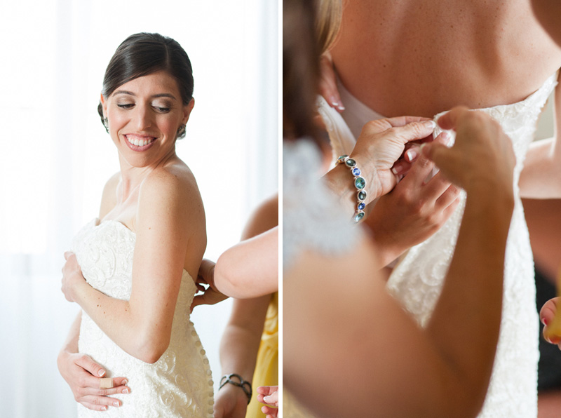 Claremont wedding photography bride getting into dress