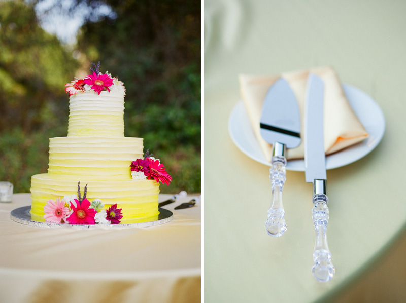 Los Angeles wedding photographer yellow wedding cake with pink flowers