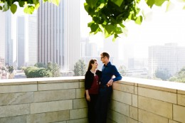 downtown LA engagement photos with city skyline in background