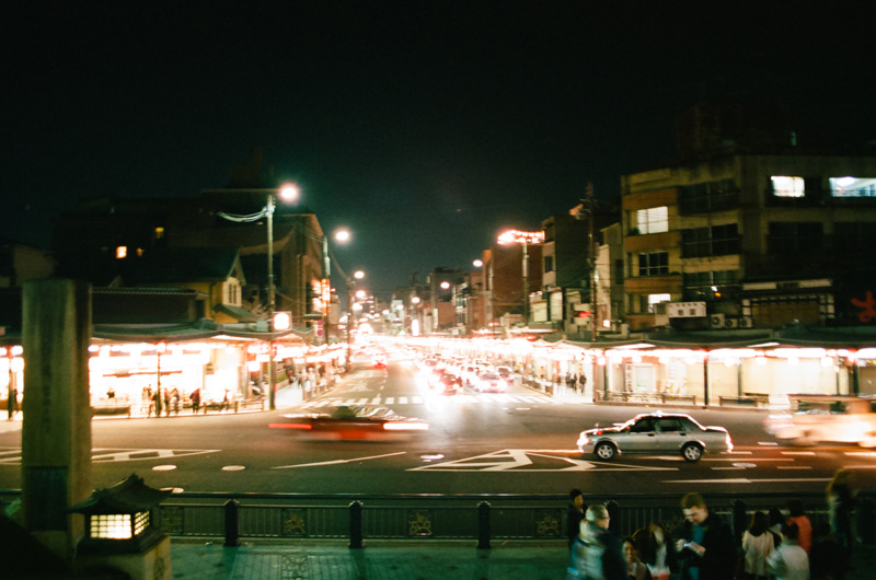 Shijo Dori night time street photography in Kyoto time lapse 35mm film