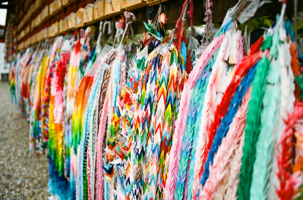 colorful origami cranes in Japan
