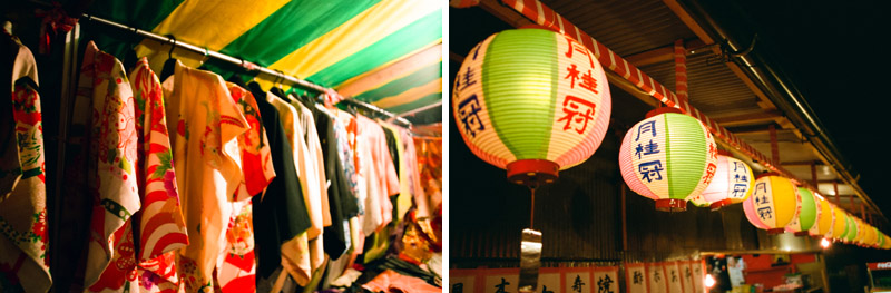 Kimonos for sale and paper lanterns at Japanese street fair