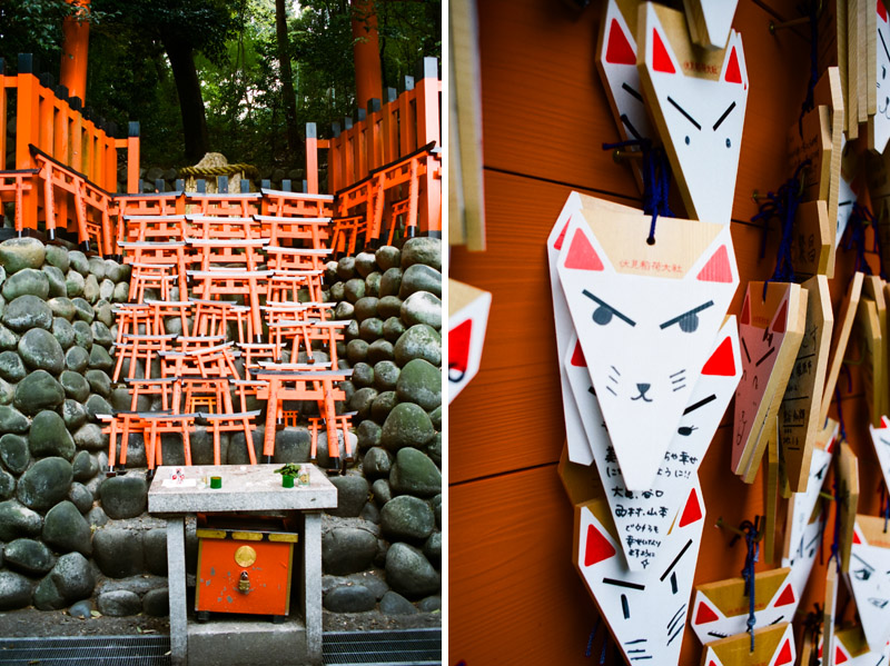 Souvenir foxes and torii gates to leave for blessings at Fushimi Inari shrine in Kyoto