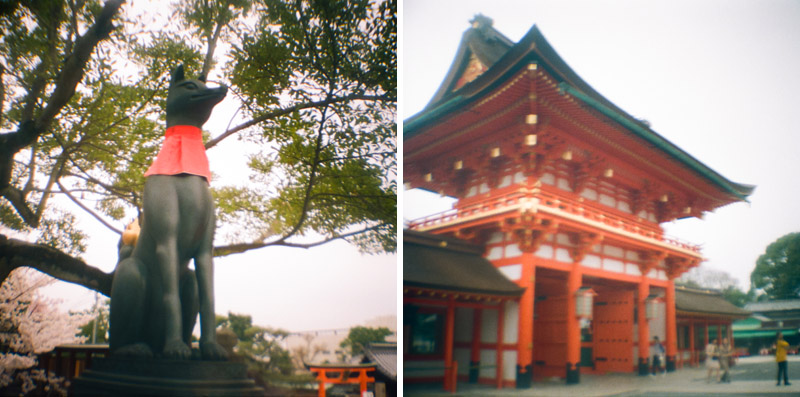 Fushimi Inara shrine travel photography with Diana Mini toy camera 35mm film