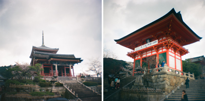 Kioymizu Dera travel photography on 35mm film Diana Mini toy camera. Kyoto Japan.
