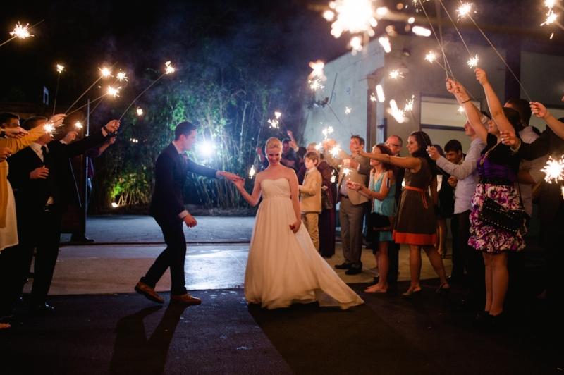 Wedding sparklers getaway for bride and groom