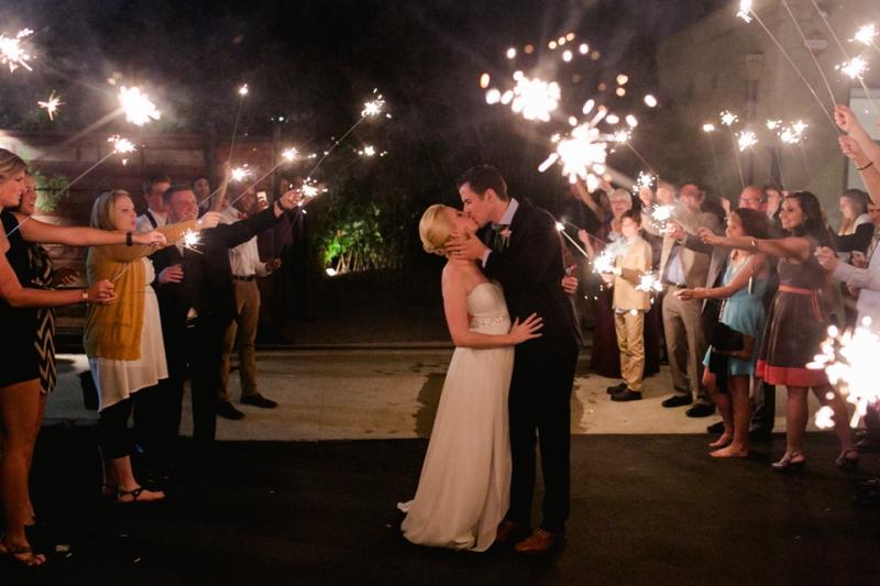 Los Angeles wedding photographer bride and groom sparkler exit