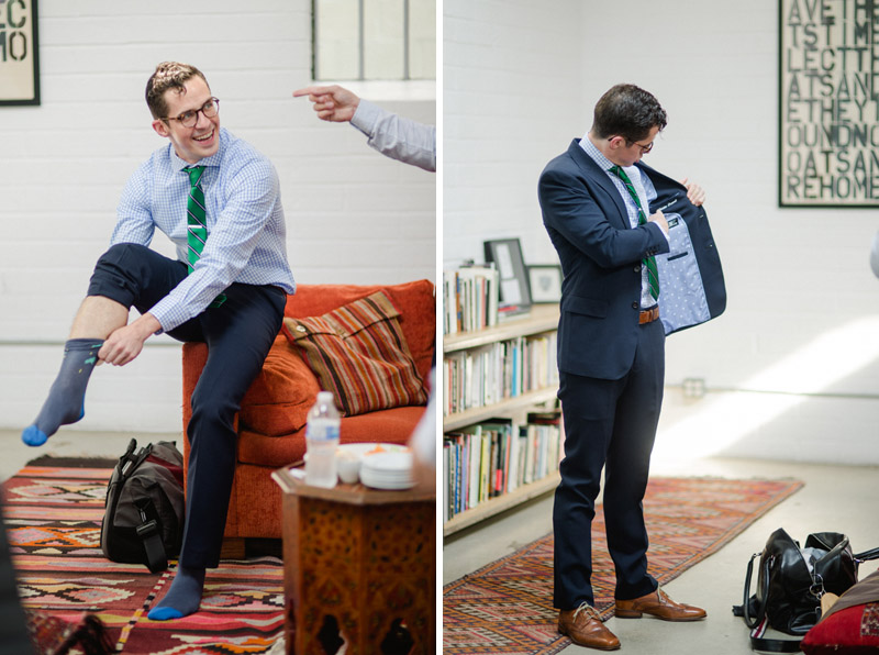 Groom with custom suit and novelty videogame socks at Elysian wedding