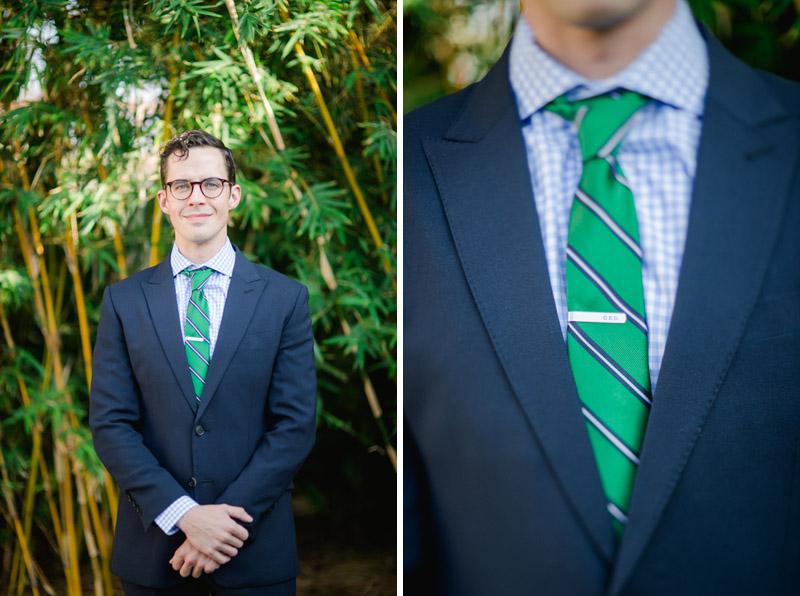 groom at Elysian wedding, custom suit and tie clip