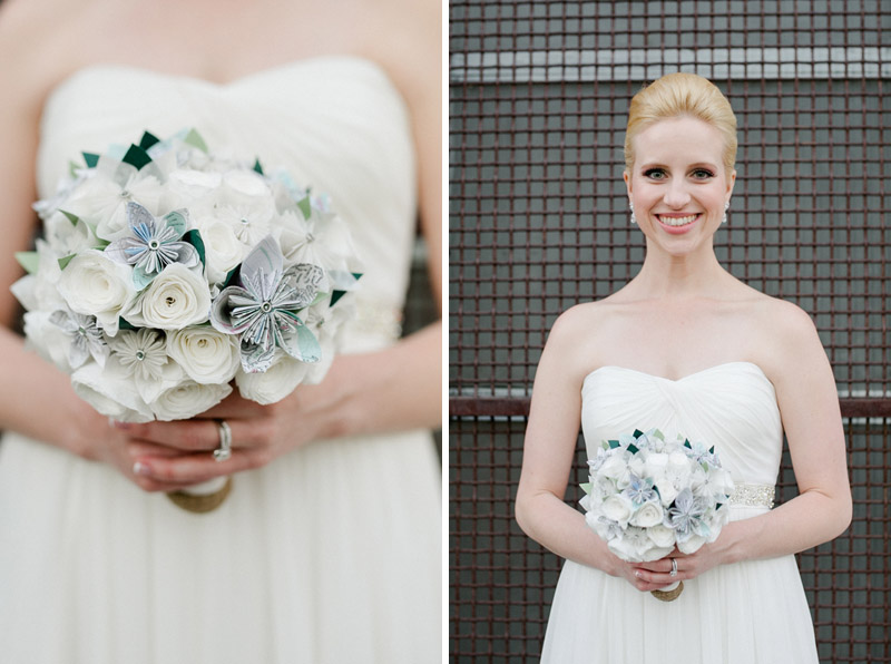 Gorgeous bride at modern industrial chic Elysian wedding with paper flower bridal bouquet