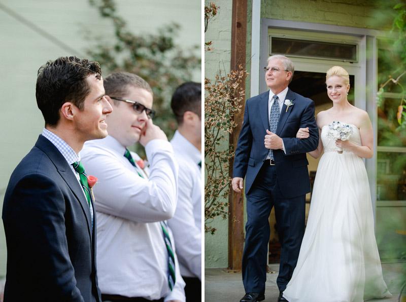 Bride and groom ceremony at Elysian modern wedding venue