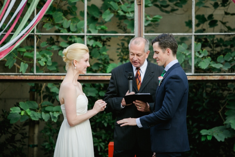 excited ring exchange with bride and groom at Elysian wedding venue