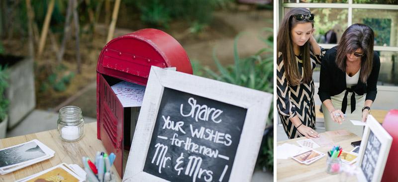 diy wedding decor chalkboard sign, postcards and vintage red mailbox