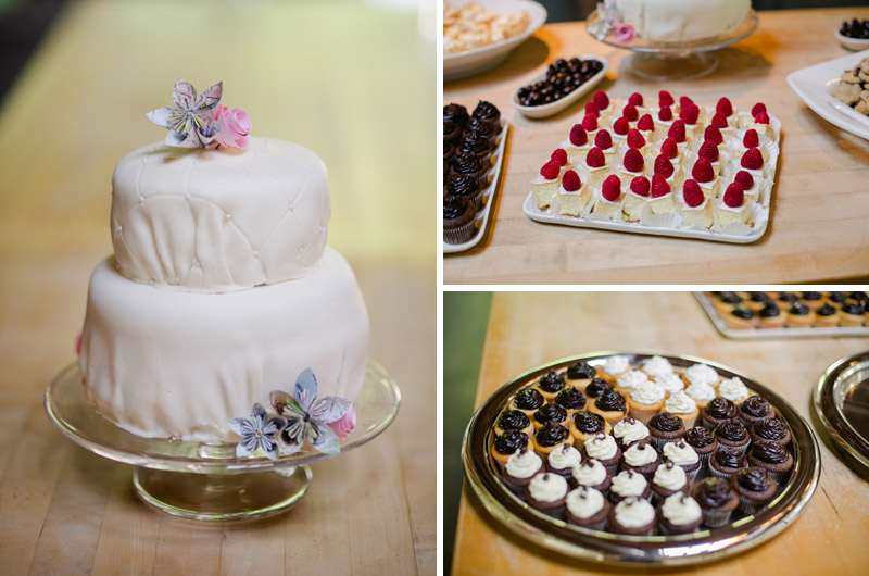 DIY wedding cake with paper flowers and raspberry cream dessert buffet