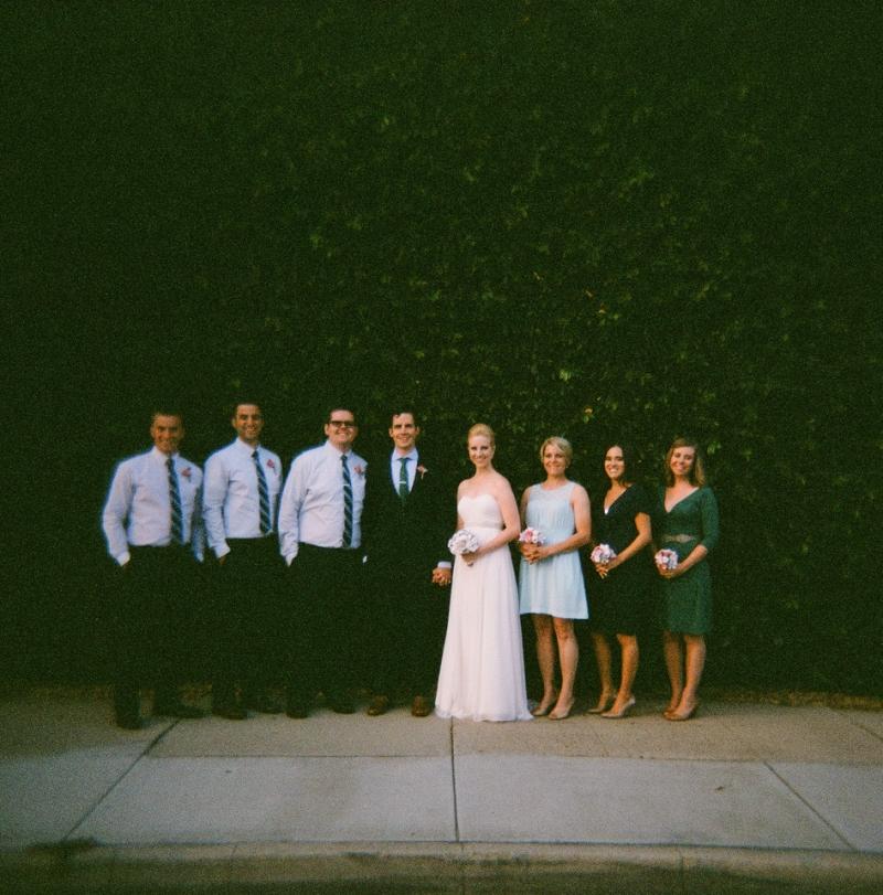 Holga toy camera wedding photography with bridal party