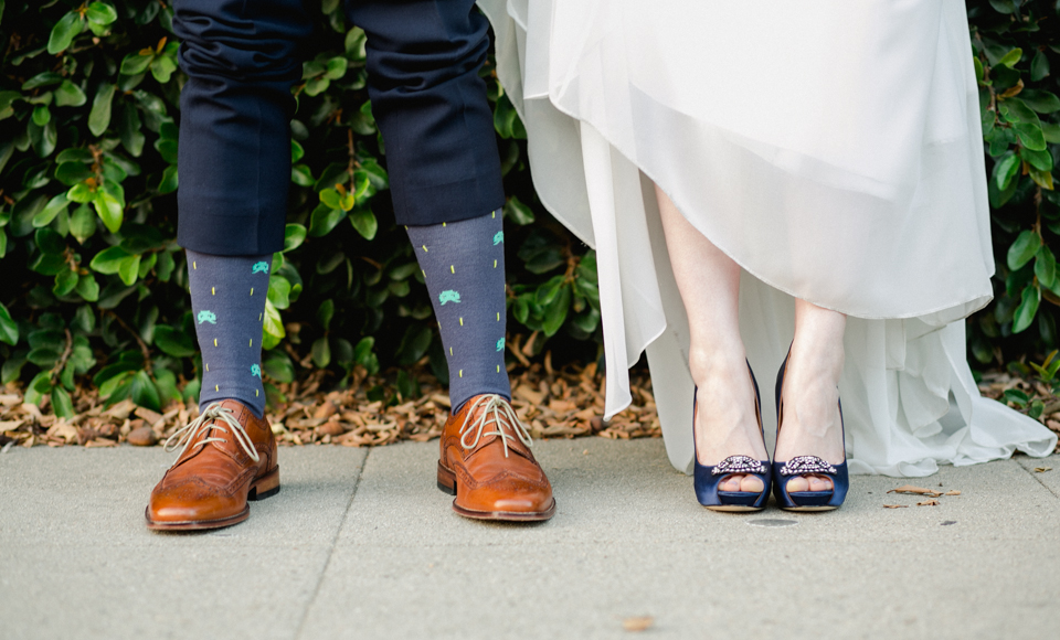 Novelty space invaders videogame socks for groom and navy peep toe heels for bride