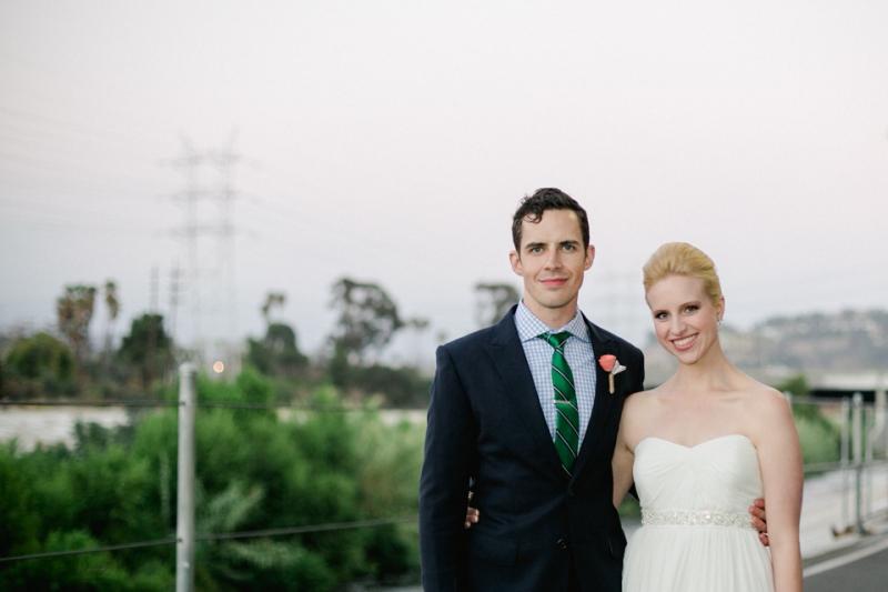 bride and groom near LA River