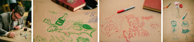DIY wedding decor - tables wrapped in kraft paper and sharpies for guests to draw