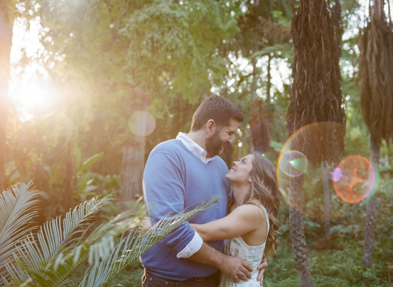 Amazing lens flare on film in forest at Los Angeles Arobretum by Jessica Schilling