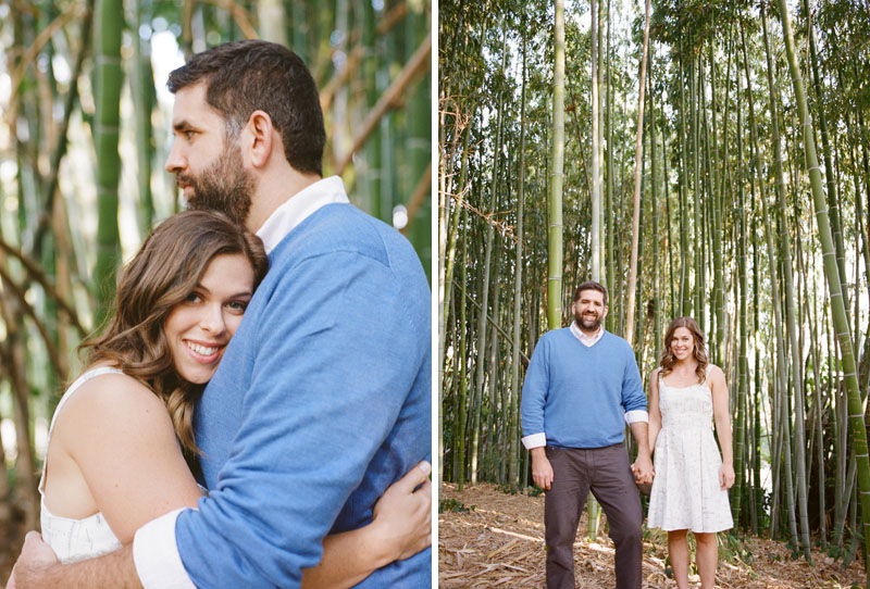 Los Angeles Arboretum engagement session in bamboo forest on kodak portra 400 film