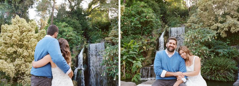 Los Angeles engagement photography at Arboretum romantic waterfall