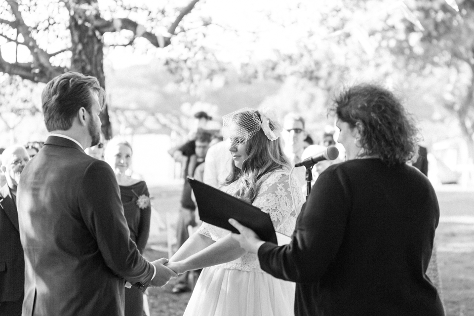 Outdoor wedding ceremony at nature center Los Angeles