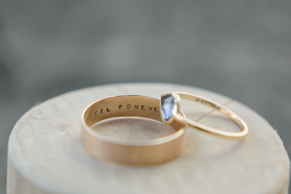 beautiful handmade gold engraved and sapphire wedding bands