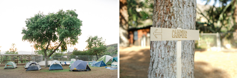 Tents set up for guests to camp overnight for summer camp wedding in LA