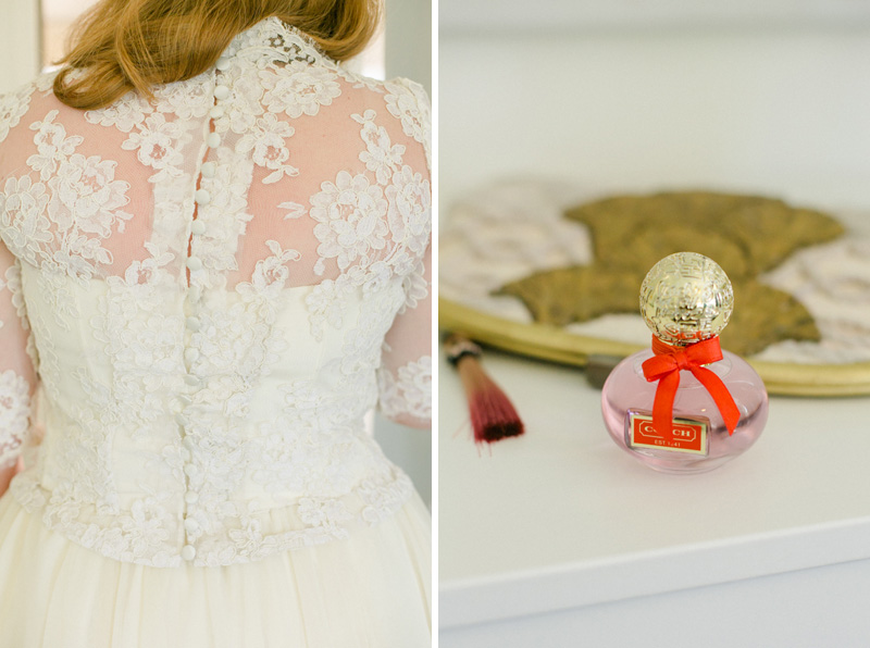 lace bridal top, perfume, and vintage clutch
