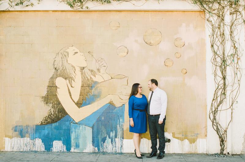 Los Angeles cool graffiti engagement session arts district. 35mm film