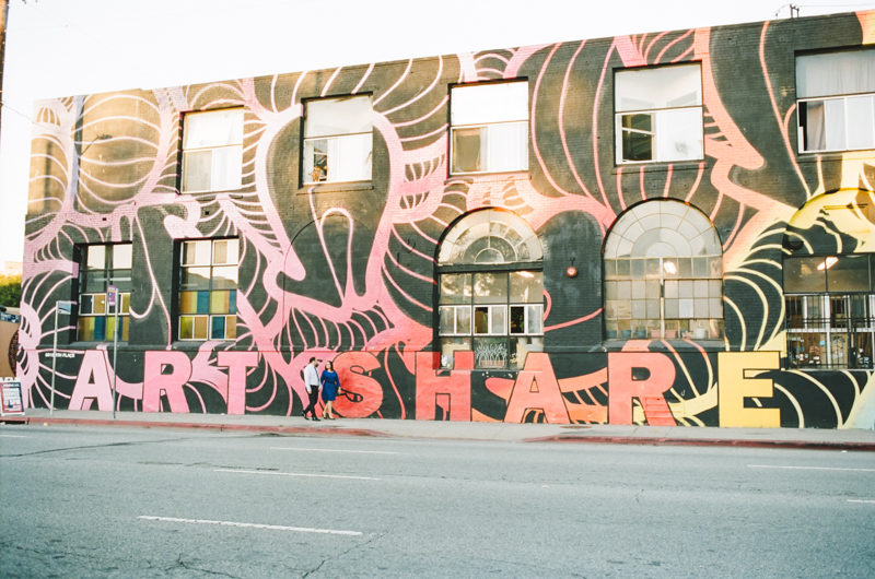 downtown Los Angeles street art murals cool places to take engagement photos